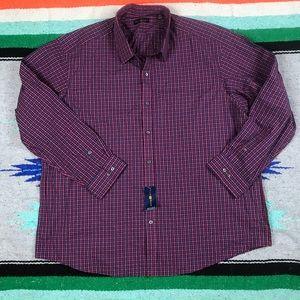 NEW Club Room Regular Fit  Plaid Shirt Sz 18 34/35